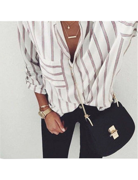 2017 New Striped Blouse Women Blusas Loose Slim Fit Long Sleeve Women's Shirts Fashion Top All Match For Women's Blouses by Bkmgc