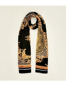 Black Baroque Print Scarf by New Look