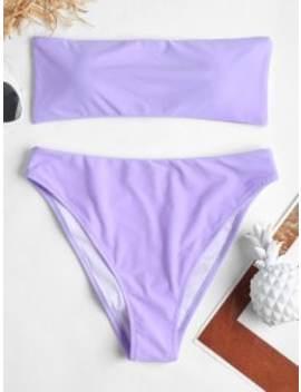 Tube High Leg Bandeau Bikini   Mauve M by Zaful