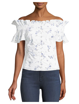 Francine Floral Off The Shoulder Button Front Top by Rebecca Taylor