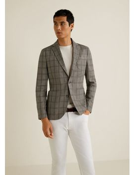 Slim Fit Unstructured Linen Blazer by Mango