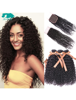 Allrun Kinky Curly 2/3 Bundles With Closure Brazilian Hair Weave Bundles Human Hair With Lace Closure Non Remy Hair Extension by Allrun A