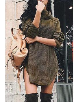 High Collar Warm Sweater Dress by Lupsona