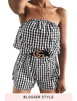 Gingham Tube Playsuit Romper by Lupsona