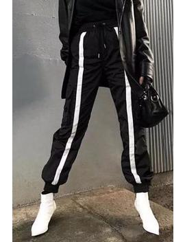 White Contrast Color Stripes Black Hip Pop Pants by Lupsona
