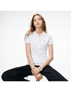 Women's  Slim Fit Stretch Mini Cotton Piqué Polo Shirt by Lacoste