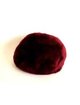Bespoke 1950s Faux Fur Hat   Vintage Mid Century Burgundy Red Woman's Cap   Shiraz Coloured Head Piece by Funky Koala