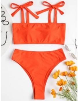 Tie Shoulder High Leg Bikini   Orange S by Zaful