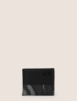 Camo Motif Textured Billfold by Armani Exchange