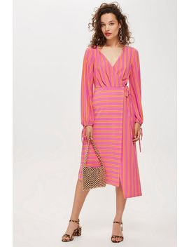 Petite Stripe Wrap Midi Dress by Topshop