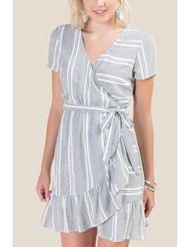 Becca Striped Wrap Dress by Francesca's