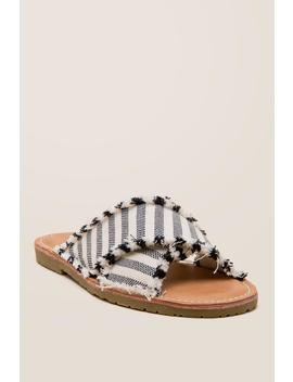 Dirty Laundry Edina Striped Slide Sandal by Francesca's