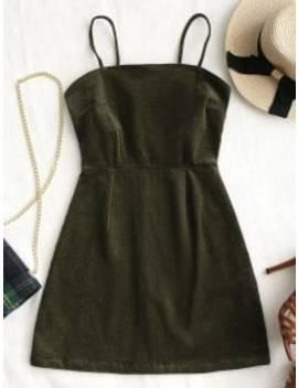 Back Zipper Corduroy Mini Dress   Army Green S by Zaful