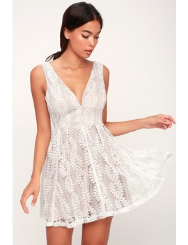 All Of My Heart White Lace Skater Dress by Lulu's