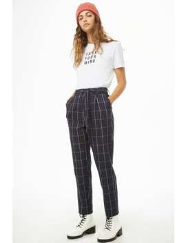 Belted Grid Print Pants by Forever 21