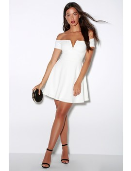 Play The Party White Off The Shoulder Skater Dress by Lulu's