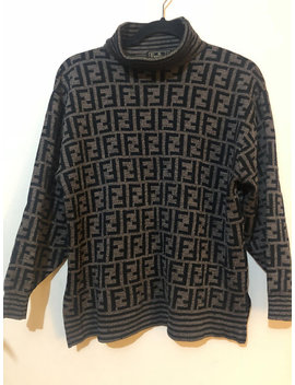 Vintage Fendi Monogram Zucca Turtle Neck Sweater 1993 by Mercy Platinum
