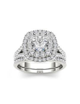 De Couer 14 K Gold Diamond Halo Engagement Ring 2ct Tw With 0.75ct Center Stone With Matching Band by De Couer