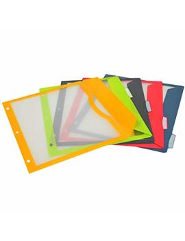 C Line 5 Tab Binder Pockets With Write On Index Tabs, Assorted Colors, 8.5 X 11 Inches, 5 Pockets Per Set (06650) by C Line