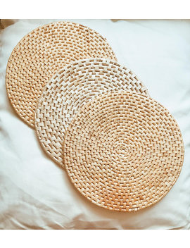 Set Of Three Woven Wall Baskets / Trivets. by Themooncabin