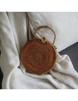 Handbag Handwoven Round Rattan Beach Bag Bali   Natural Ata Grass Handbag With Round Pattern by Lokatan