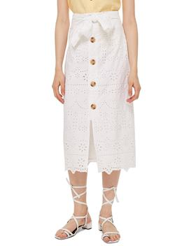 Button Front Broderie Anglaise Midi Skirt by Topshop