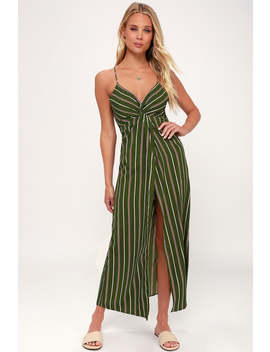Scotty Olive Green Striped Maxi Dress by Lulu's