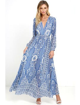 Cloud Catcher Cream And Blue Print Maxi Dress by Lulu's