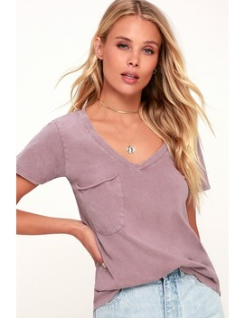 Morgan Washed Purple Pocket Tee by Lulu's