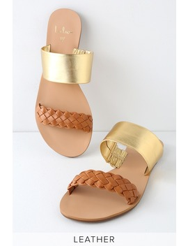 Caylee Cognac And Gold Nappa Leather Slide Sandals by Lulu's