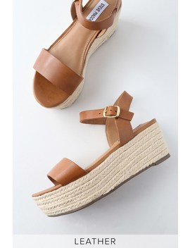Busy Cognac Leather Espadrille Platform Sandals by Lulu's