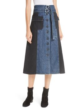 Bleu Bicolor Denim Midi Skirt by Sea