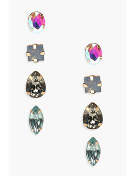 Holographic Iridescent Studs 4 Pack by Boohoo
