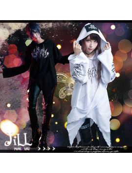 Punk Visual Rock Nightmare Forest Asymmetrical Unraveling Hem Hoodie【Jag0050<Wbr>】 by Jill