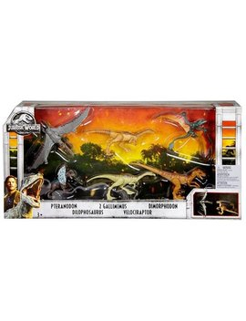 Jurassic World Legacy Collection Pteranodon, Dilophosaurus, 2 Gallimimus, Velociraptor & Dimorphodon Action Figure 6 Pack by Mattel