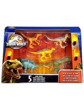 Jurassic World Tyrannosaurus Rex, Velociraptor, Parasaurolophus, Stegosaurus & Pachycephalosaurus Mini Dinosaur Figure 5 Pack by Mattel