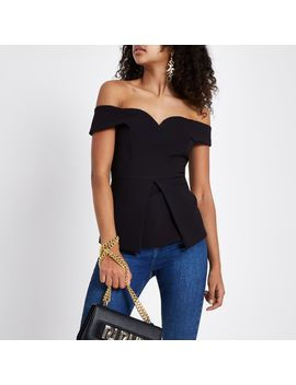 Black Structured Bardot Top by River Island