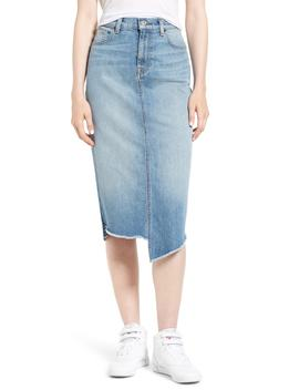 Spliced Hem Denim Midi Skirt by 7 For All Mankind®