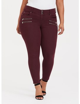 Multi Zip Jegging   Burgundy Wash by Torrid