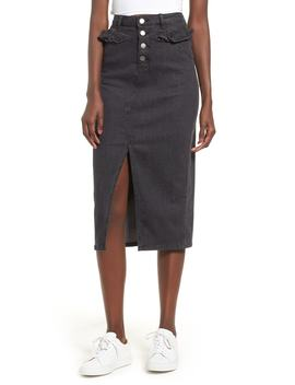 Subject Ruffle Waist Denim Midi Skirt by The Fifth Label