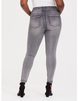 Multi Zip Jegging   Grey Wash by Torrid