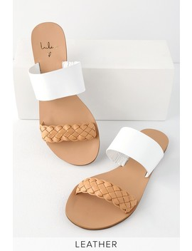 Caylee Tan And White Nappa Leather Slide Sandals by Lulu's