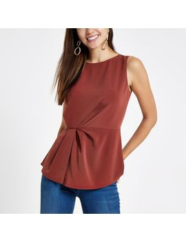 Rust Loose Fit Gathered Waist Top by River Island