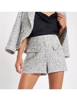 White Check Boucle Short                                    White Check Boucle Jacket by River Island