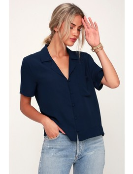 Good Luck Charm Navy Blue Short Sleeve Button Up Top by Lulu's