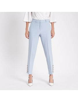 Light Blue Button Trim Cigarette Trousers by River Island