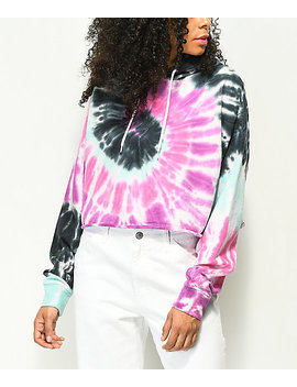 Zine Tariana Purple, Pink & Blue Tie Dye Crop Hoodie by Zine