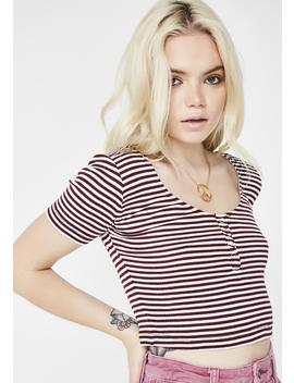 Wine Nothin' To It Striped Crop Top by American Dream