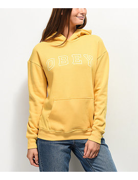 Obey Core Varsity Arched Delancey Yellow Hoodie by Obey