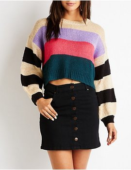 Striped Crop Pullover Sweater by Charlotte Russe
